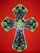 Religion Glass Art Metal Prints - Green cross Metal Print by Fabiola Rodriguez