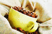 Green Beans Paintings - Green cup in coffee bag painting by Magomed Magomedagaev