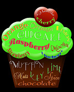 Cherry Art Mixed Media Prints - Green Cupcake Typography Print by Andee Photography