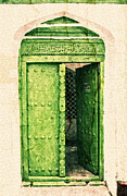 Ancient Doors Digital Art Framed Prints - Green Door Framed Print by Amyn Nasser