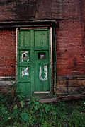 Abandoned Posters - Green Door on Red Brick Wall Poster by Amy Cicconi