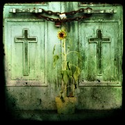 Crosses Digital Art - Green Doors by Gothicolors And Crows
