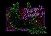 Dan Daulby Art - Green Dove Christmas Card by Dan Daulby