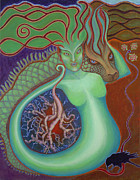 Merging Painting Posters - Green Dragon Goddess Poster by Annette Wagner