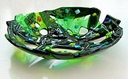 Fused Glass Glass Art - Green dream bowl by Ron Harpham