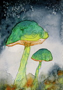 Blue Mushrooms Painting Posters - Green Dreams Poster by Beverley Harper Tinsley