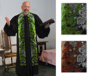 Orange Trees Tapestries - Textiles - Green Earth 3 Cotton Clergy Stole by Julie Rodriguez Jones