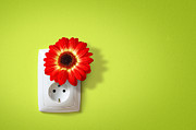 Electric Plug Prints - Green Electricity Print by Carlos Caetano