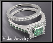 14k Jewelry - Green Emerald And Diamond 14k White Gold Wedding Ring Set by Roi Avidar
