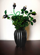 Wire Metal Prints - Green Energy Floral Arrangement of Electrical Plugs Metal Print by Amy Cicconi