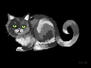 Nick Gustafson Art - Green Eyed Cat by Nick Gustafson