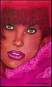 Fuschia Pastels Prints - Green-Eyed Lady 96 Print by Ellen Cannon