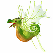 Friendly Digital Art - Green Faerie Dragon by Corey Ford