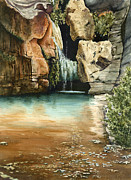Waterfall Painting Posters - Green Falls II Poster by Sam Sidders
