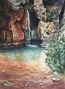 Canyon Painting Framed Prints - Green Falls Framed Print by Sam Sidders