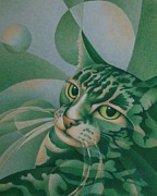 Animals Drawings Posters - Green Feline Geometry Poster by Pamela Clements