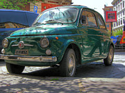 Vlad Baciu Art - Green Fiat 500 in Rome by Vlad Baciu