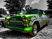 Classic Hot Rods Posters - Green Flame 55 Chevy 001 Poster by Lance Vaughn