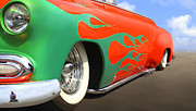 Street Rod Framed Prints - Green Flames Framed Print by Mike McGlothlen