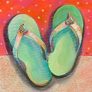 Girls Room Decor Framed Prints - Green Flip Flops Framed Print by Jen Norton