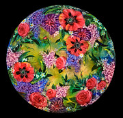 Painted Glass Art - Green Floral by Mikael  Darni