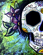 Sugar Skull Posters - Green Flower Skull Poster by Lovejoy Creations