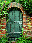 Historical Greeting Card Framed Prints - Green Garden Door Framed Print by Steven Ainsworth