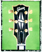 Guy Gifts For Him Framed Prints - Green Gibson Guitar Headstock Framed Print by Artful Musician NY
