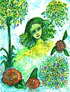 Purple Flowers Drawings - Green Girl by Sarah Loft