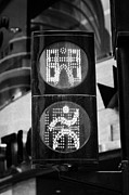 Crosswalk Framed Prints - Green Go Pedestrian Crossing Traffic Lights Countdown Clock Crossing Road In Andorra La Vella Andorr Framed Print by Joe Fox