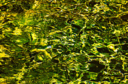 Jenny Rainbow - Green Gold Water Abstract. Feng Shui