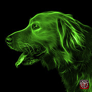 Retriever Digital Art - Green Golden Retriever - 4047 F by James Ahn