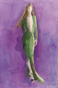 Ethereal Metal Prints - Green Gown - Watercolor Fashion Illustration Metal Print by Beverly Brown Prints