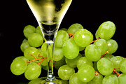 Grape Vine Photo Originals - Green grapes and wine by Tommy Hammarsten