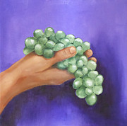 Chardonnay Originals - Green Grapes in Hand by Joan Young