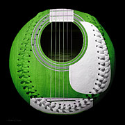 Take-out Digital Art Prints - Green Guitar Baseball White Laces Square Print by Andee Photography