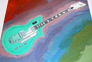 Music Map Paintings - Green Guitar by Magdalena Frohnsdorff