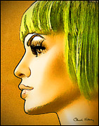 Staley Art Mixed Media Originals - Green Hair by Chuck Staley