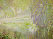 Beautiful Creek Painting Originals - Green haze morning by J Michael Orr