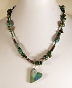 Polymer Jewelry - Green Heart Necklace by P Russell