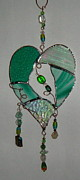 Featured Glass Art - Green Heart by Nora Solomon