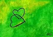 Hearts Pastels - Green Hearts I by Carla Sa Fernandes