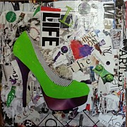Torn Mixed Media Originals - Green High Heel - Margarita Evening by James Haddock
