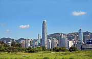Hong Kong Metal Prints - Green Hong Kong Skyline Metal Print by Lars Ruecker