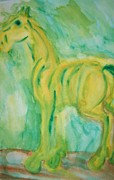Relating Painting Prints - Green Hope Print by Hilde Widerberg