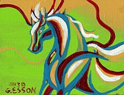 Alizarin Crimson Paintings - Green Horse by Genevieve Esson