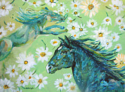 Ashleigh Dyan Bayer - Green Horses with Sweet...