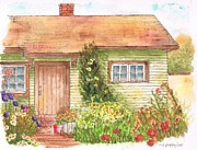 Watercolors Painting Originals - Green house by Carlos G Groppa