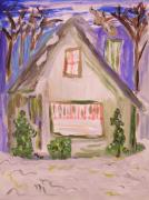 Snowstorm Drawings Posters - Green House Colorful Snow Poster by Mary Carol Williams