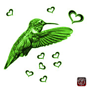 Animal Lover Digital Art - Green Hummingbird - 2055 F S M by James Ahn